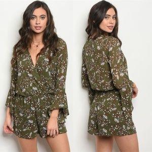 Pants - Boho Floral Romper Bell Sleeve Olive Green NWT